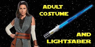 Rey Costume and Lightsaber Bundle