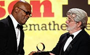 Samuel L.Jackson receives an award.