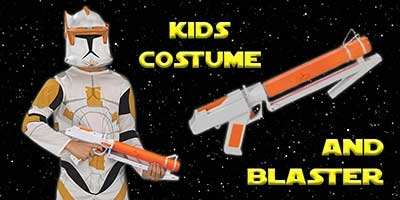Child Commander Cody Costume and Blaster Bundle