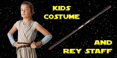 Child Rey Costume and Staff Bundle