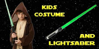 Child Jedi Robe Costume and Lightsaber Bundle