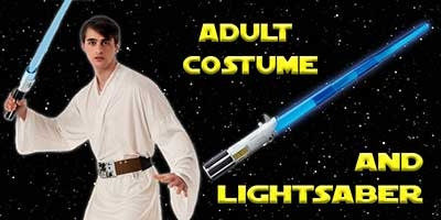 Luke Skywalker Costume and Lightsaber Bundle