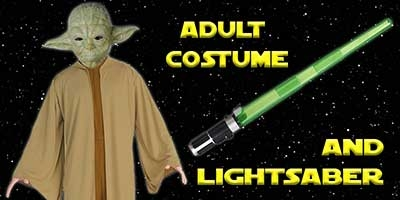 Yoda Costume and Lightsaber Bundle