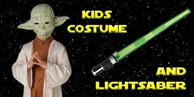 Child Yoda Costume and Lightsaber Bundle
