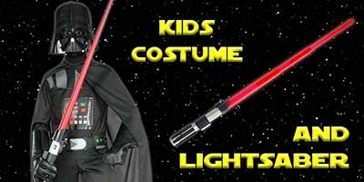 Child Basic Darth Vader Costume and Lightsaber Bundle
