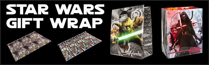 Star Wars Wrapping Paper and Gift Bags available at www.Jedi-Robe.com - The Star Wars Shop....