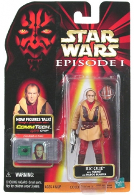 Star Wars Action Figure - Ric Olie with Blaster and Helmet - CommTech Chip