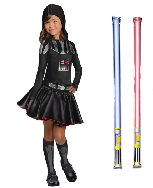 Star Wars Costume Child Darth Vader Dress - WITH x2 FREE LIGHTSABERS