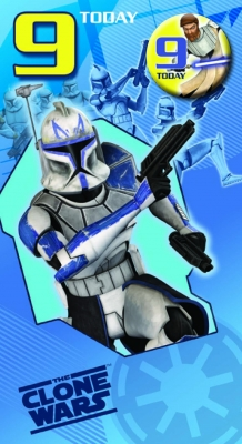 Star Wars Greeting Cards - 232 x 128mm - Clone Wars - Age 9 Badged - SW344/2