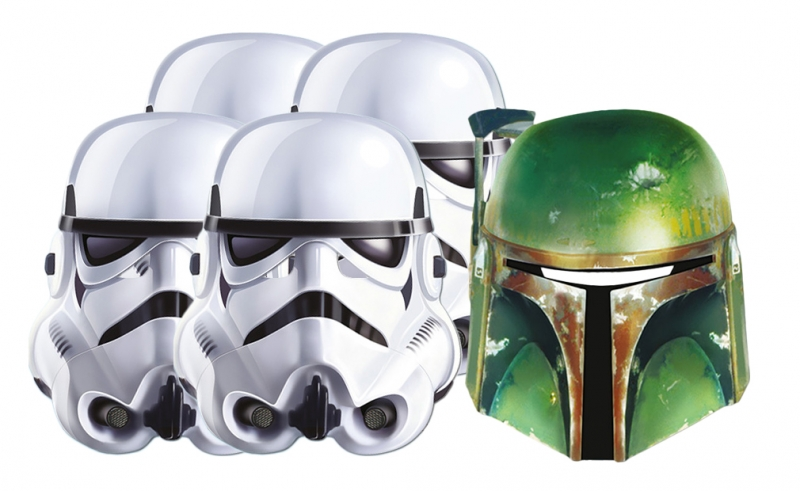 Star Wars MASKS - Character Mask Party Pack 11 - 4 x Stormtrooper - 1 x Boba Fett