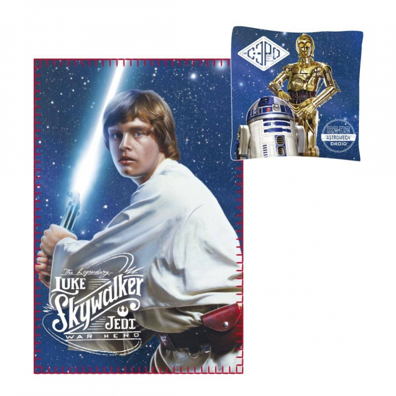 Star Wars BEDDING - Star Wars Pillow and Blanket Luke Skywalker with C-3PO and R2-D2