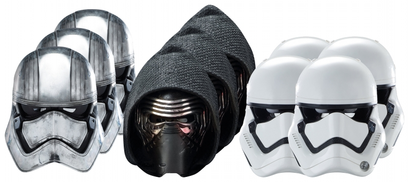 Star Wars MASKS - Character Mask Party Pack 8 - 4 x First Order Stormtrooper - 3 x Kylo Ren - 3 x Captain Phasma