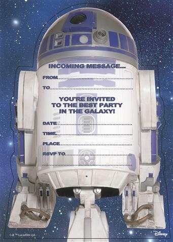 Star Wars Party Invite Cards - R2-D2
