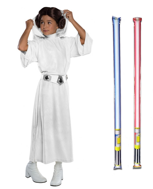 Star Wars Costume Child Deluxe Princess Leia - WITH x2 FREE LIGHTSABERS