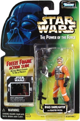 Star Wars Action Figure - Biggs Darklighter with Blaster Pistol - Freeze Frame Action Slide