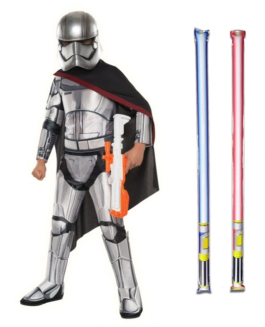 Star Wars Costume Super Deluxe Child - Captain Phasma The Force Awakens - WITH x2 FREE LIGHTSABERS