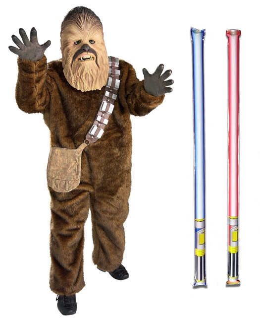 Star Wars Costume Deluxe Child - Chewbacca - WITH x2 FREE LIGHTSABERS
