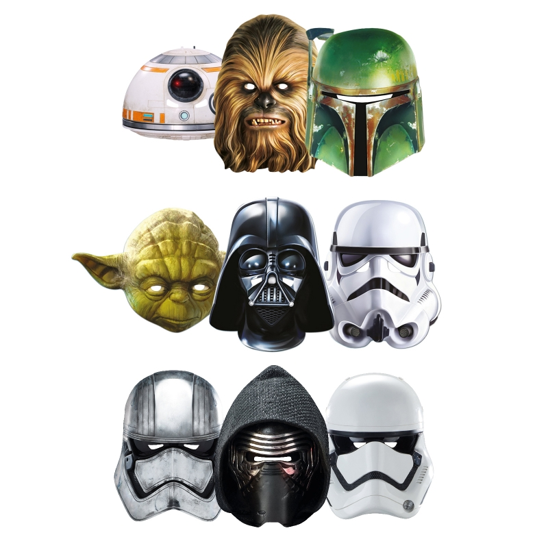Star Wars MASKS - Character Mask Party Pack 14 - 1 x First Order Stormtrooper - 1 x Kylo Ren - 1 x Captain Phasma - 1 x BB-8 - 1 x Darth Vader - 1 x Stormtrooper - 1 x Yoda - 1 x Chewbacca - 1 x Boba Fett