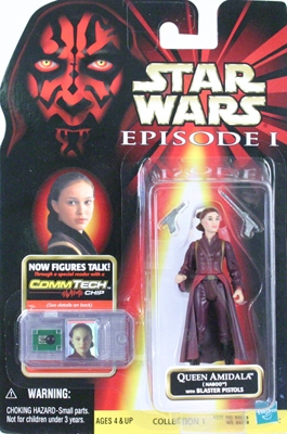 Star Wars Action Figure - Queen Amidala (Naboo) with Blaster Pistols - CommTech Chip