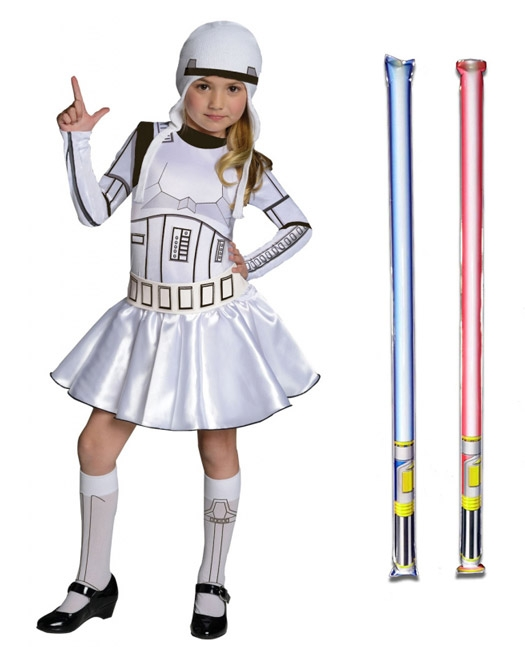 Star Wars Costume Child Stormtrooper Dress - WITH x2 FREE LIGHTSABERS