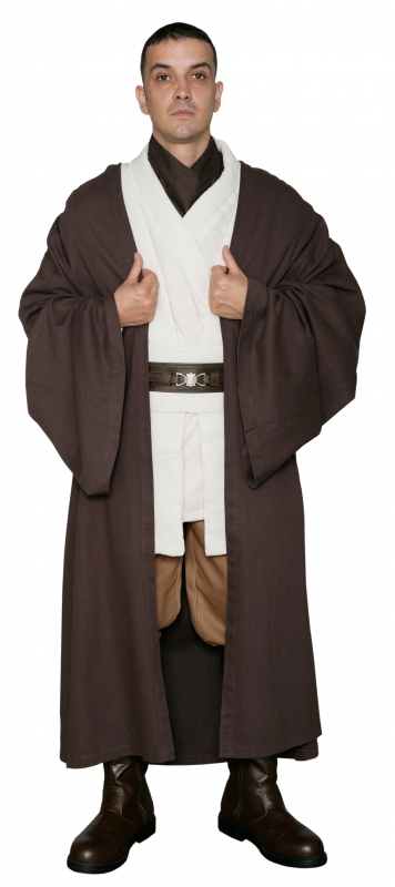 * Star Wars Obi-Wan Kenobi Costume - Body Tunic with Replica DARK BROWN Jedi Robe