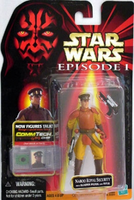 Star Wars Action Figure - Naboo Royal Security with Blaster Pistol and Rifle - CommTech Chip