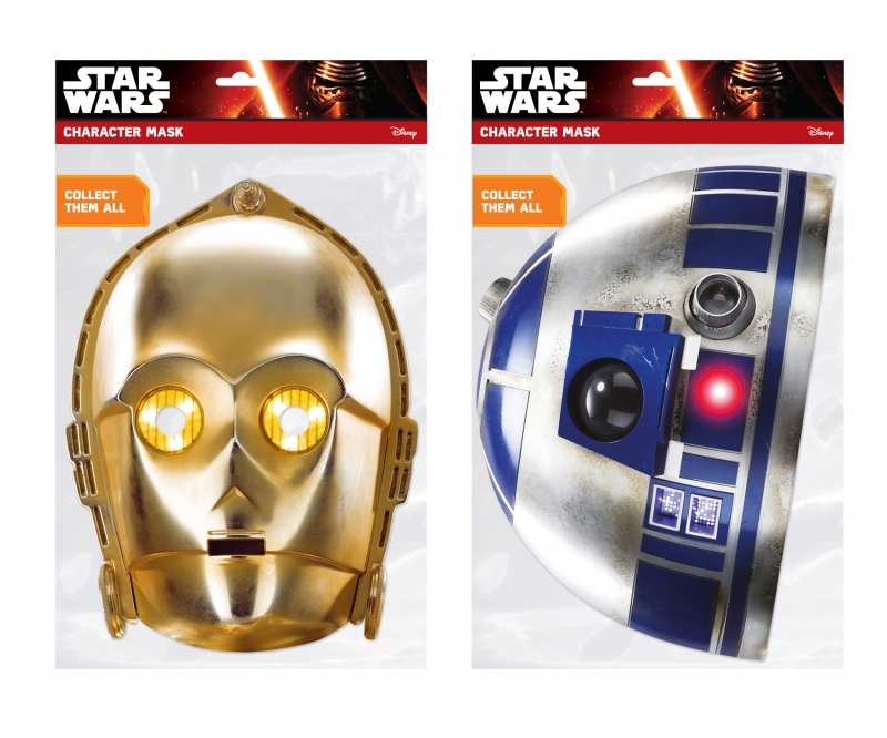 Star Wars MASKS - Character Mask Party Pack 17 - 1 x C-3PO- 1 x R2-D2