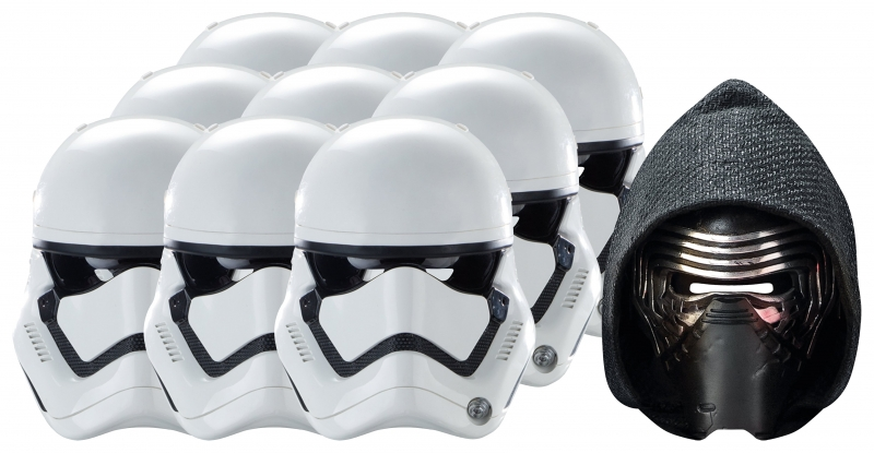 Star Wars MASKS - Character Mask Party Pack 5 - 9 x First Order Stormtrooper - 1 x Kylo Ren