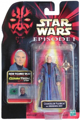 Star Wars Action Figure - Chancellor Valorum with Ceremonial Staff - CommTech Chip