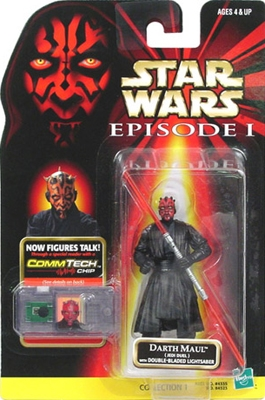 Star Wars Action Figure - Darth Maul Jedi Duel with Double Bladed Lightsaber - Episode 1 - with CommTech Chip