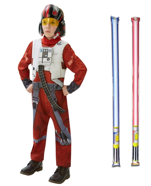 Star Wars Costume Deluxe Child - Poe Dameron The Force Awakens - WITH x2 FREE LIGHTSABERS