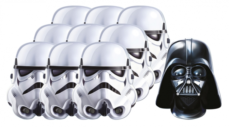 Star Wars MASKS - Character Mask Party Pack 1 - 9 x Stormtroopers - 1 x Darth Vader