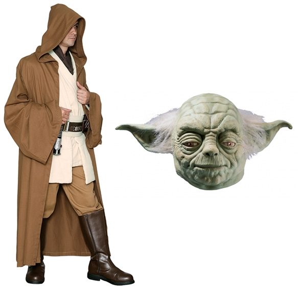 Star Wars Costume Adult - Light Brown Robe and Yoda Mask