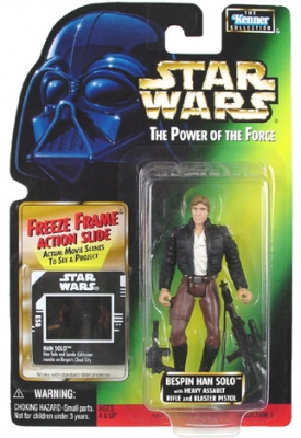 Star Wars Action Figure - Bespin Han Solo with Heavy Assault Rifle and Blaster Pistol - Freeze Frame Action Slide