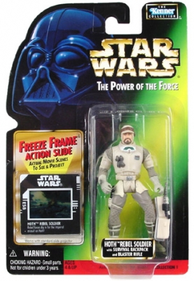 Star Wars Action Figure - Hoth Rebel Soldier with Survival Backpack and Blaster Rifle - Freeze Frame Action Slide