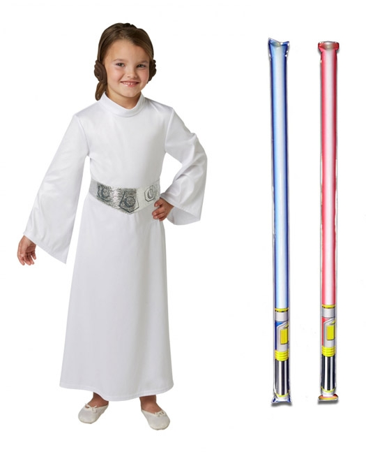 Star Wars Costume Child Basic Princess Leia - WITH x2 FREE LIGHTSABERS