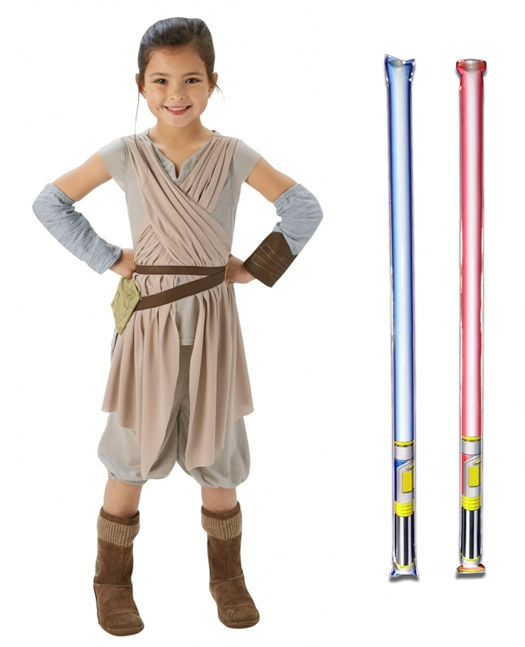 Star Wars Costume Deluxe Child - Rey The Force Awakens - WITH x2 FREE LIGHTSABERS