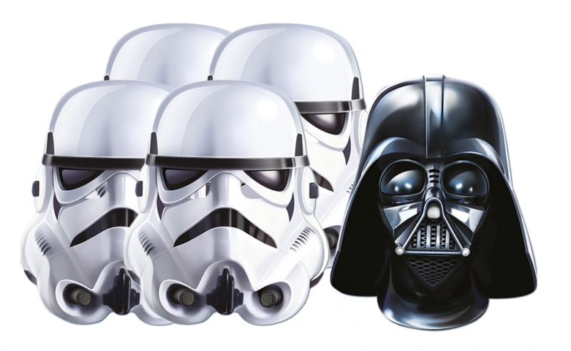 Star Wars MASKS - Character Mask Party Pack 2 - 4 x Stormtrooper - 1 x Darth Vader
