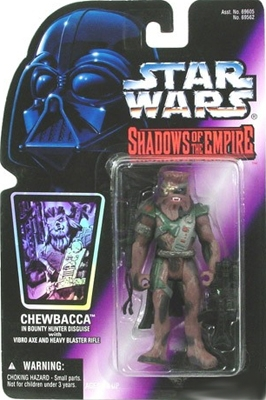 Star Wars Action Figure - Chewbacca in Bounty Hunter Disguise with Vibro Axe and Heavy Blaster Rifle - Shadows of the Empire