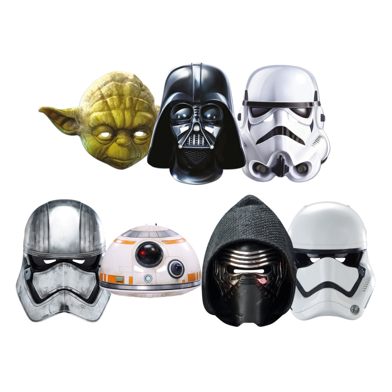 Star Wars MASKS - Character Mask Party Pack 10 - 1 x First Order Stormtrooper - 1 x Kylo Ren - 1 x Captain Phasma - 1 x BB-8 - 1 x Darth Vader - 1 x Stormtrooper - 1 x Yoda