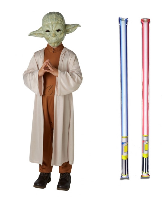 Star Wars Costume Basic Child - Yoda - WITH x2 FREE LIGHTSABERS