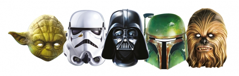 Star Wars MASKS - Character Mask Party Pack 15 - 1 x Darth Vader - 1 x Stormtrooper - 1 x Yoda - 1 x Chewbacca - 1 x Boba Fett