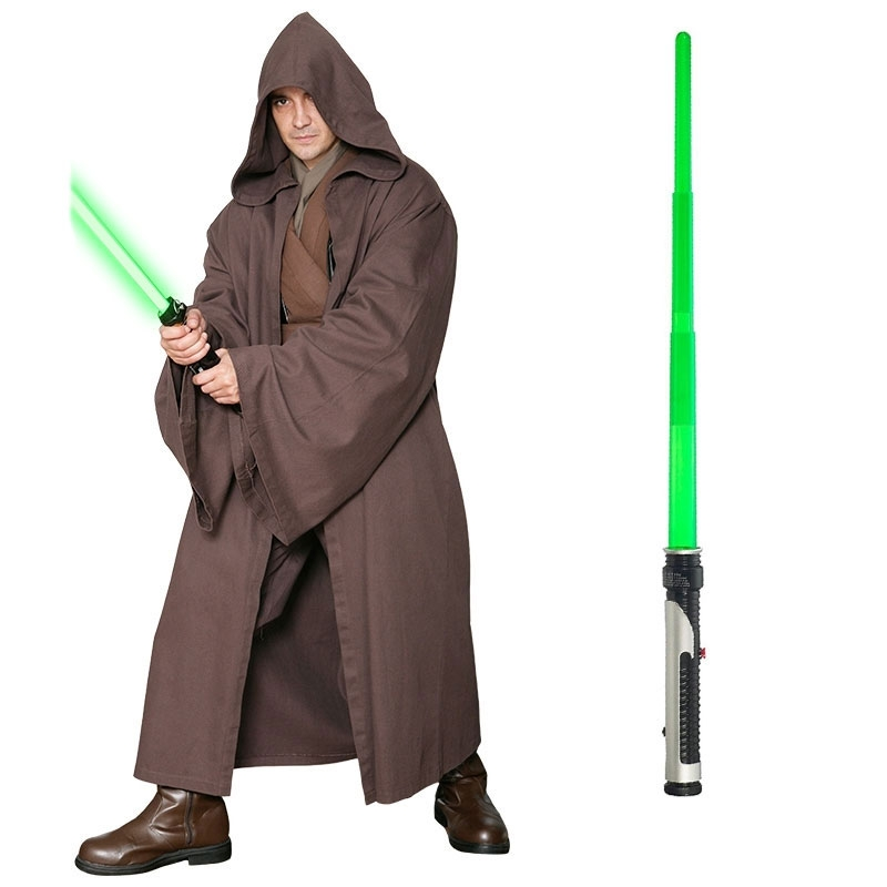Star Wars Costume Adult Lightsaber Bundle - Dark Brown Jedi Robe