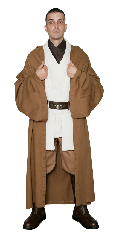 * Star Wars Obi-Wan Kenobi Costume - Tunic with Replica LIGHT BROWN Jedi Robe