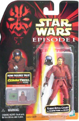 Star Wars Action Figure - Naboo Royal Guard with Blaster Pistol and Rifle - CommTech Chip