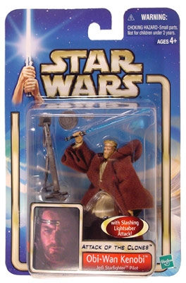 Star Wars Action Figure - Obi Wan Kenobi Jedi Starfighter Pilot - Slashing Lightsaber Attack
