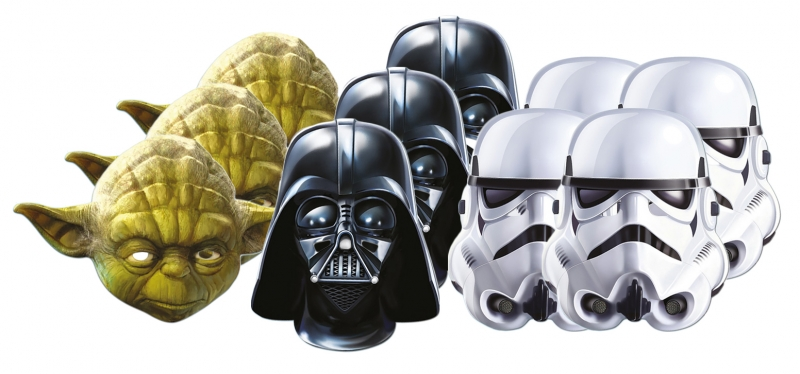 Star Wars MASKS - Character Mask Party Pack 3 - 3 x Yoda - 4 x Stormtrooper - 3 x Darth Vader