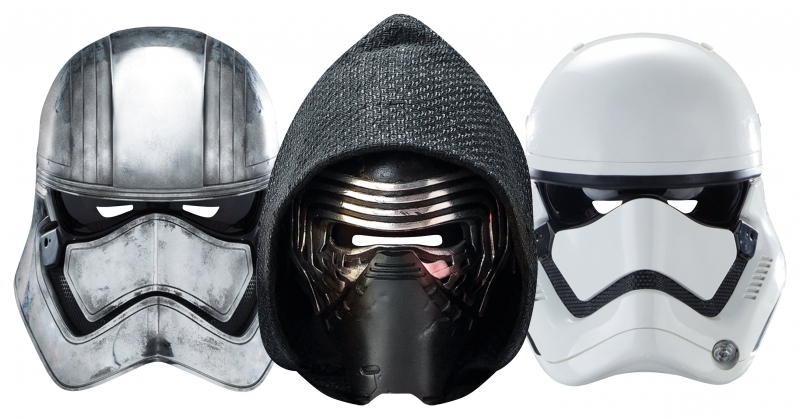 Star Wars MASKS - Character Mask Party Pack 9 - 1 x First Order Stormtrooper - 1 x Kylo Ren - 1 x Captain Phasma